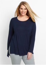 Long-Shirt mit Schlitzen, bpc bonprix collection, dunkelblau