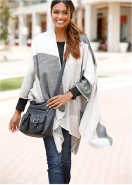 karierter Poncho, bpc bonprix collection, grau/beige