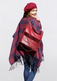 Wende-Poncho, bpc bonprix collection, dunkelblau/bordeaux kariert + bordeaux uni
