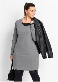 Basic Baumwollshirt Stretch-Jersey, bpc bonprix collection, grau meliert