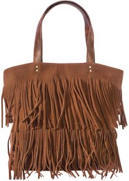 Shopper mit Fransen, bpc bonprix collection, cognac