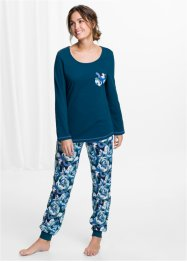 Pyjama, bpc bonprix collection, blaupetrol bedruckt