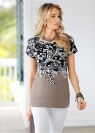 Blusa com estampa all-over, cinza amarronzado / preto / branco estampado