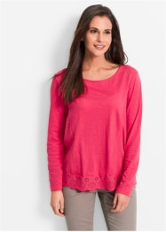 Flammgarn-Shirt mit Spitze, Langarm, bpc bonprix collection, hibiskuspink