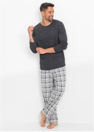 Pyjama, bpc bonprix collection, anthrazit meliert kariert