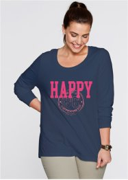 "Langarm-Shirt, bpc bonprix collection, dunkelblau bedruckt ""happy"""