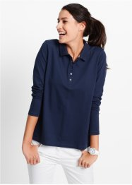 Pique-Poloshirt, Langarm, bpc bonprix collection, dunkelblau