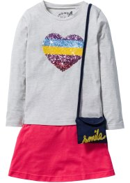 Shirt + Rock + Täschchen (3-tlg.), bpc bonprix collection, naturmeliert/hibiskuspink