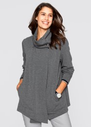 Asymmetrisch geschnittene Sweat-Jacke, bpc bonprix collection, anthrazit meliert