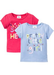 Baby T-Shirt (2er-Pack) Bio-Baumwolle, bpc bonprix collection, perlblau/pink