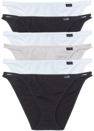 Tanga (6er-Pack), bpc bonprix collection, schwarz/weiß/grau