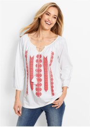 Shirt-Tunika - designt von Maite Kelly, bpc bonprix collection, weiß/hummer bedruckt