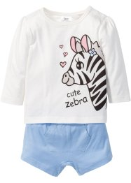 Baby Langarmshirt + Shorts (2-tlg.) Bio-Baumwolle, bpc bonprix collection, wollweiss/perlblau