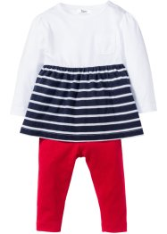 Baby Kleid + Leggings (2-tlg. Set) Bio-Baumwolle, bpc bonprix collection, weiß/dunkelblau/rot