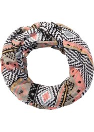 Loop Ethno mit Bommeln, bpc bonprix collection, grau/lachs
