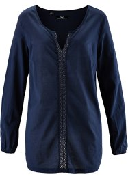 Langarm-Bluse, bpc bonprix collection, dunkelblau
