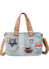 Bowling Tasche Denim mit Nieten & Patches, bpc bonprix collection, blue bleached