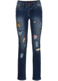 Slim Jeans mit Patches, RAINBOW, blue stone