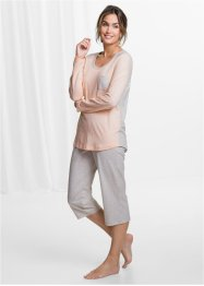 Capri Pyjama, bpc bonprix collection, naturmeliert/beige