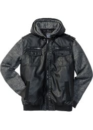 Lederimitat-Jacke Regular Fit, RAINBOW, schwarz/grau meliert