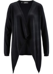 Langarm-Zipfelstrickjacke, bpc bonprix collection, schwarz
