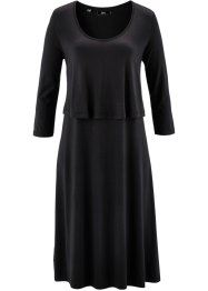 Shirt-Kleid in Lagenoptik, bpc bonprix collection, schwarz