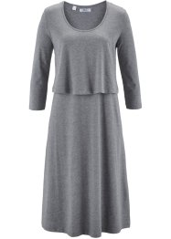 Shirt-Kleid in Lagenoptik, bpc bonprix collection, grau meliert