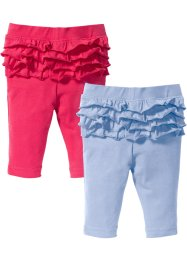 Baby Leggings mit Rüschen (2er-Pack) Bio-Baumwolle, bpc bonprix collection, perlblau/pink