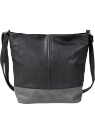Shopper zweifarbig medium, bpc bonprix collection, schwarz/grau
