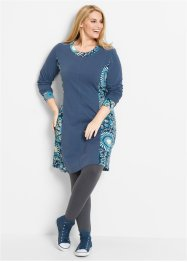 Langarm-Kleid, bpc bonprix collection, indigo bedruckt