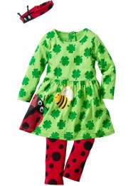 Baby Langarm Kleid + Leggings + Stirnband (3-tlg.) Bio-Baumw, bpc bonprix collection