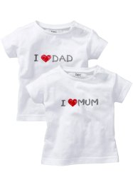 Baby-T-Shirt (2er-Pack) Bio-Baumwolle, bpc bonprix collection, weiß bedruckt