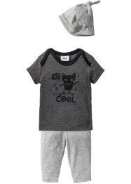 Baby T-Shirt + Hose + Mütze (3-tlg.) Bio-Baumwolle, bpc bonprix collection