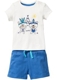Baby T-Shirt + Shorts (2-tlg.) Bio-Baumwolle, bpc bonprix collection, wollweiß/gletscherblau