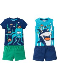 Baby T-Shirt + Top + zwei Shorts (4-tlg.) Bio-Baumwolle, bpc bonprix collection