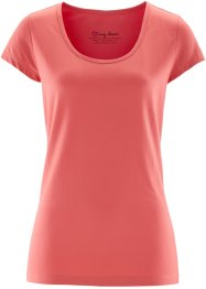 Basic Baumwollshirt Stretch-Jersey, bpc bonprix collection, koralle