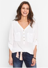 Langarm-Crinkle-Bluse, bpc bonprix collection
