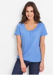 Kurzarm-Shirt, bpc bonprix collection, mittelblau