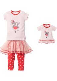 Pyjama + Puppennachthemd (4-tlg.), bpc bonprix collection, rosa/koralle