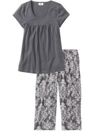 Capri Pyjama, bpc bonprix collection, rauchgrau/cremerosa