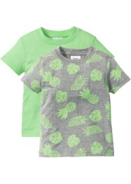 T-Shirt (2er-Pack), bpc bonprix collection, hellgrau meliert bedruckt+mint
