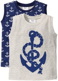 Tank-Top (2er-Pack), bpc bonprix collection, naturmeliert+mitternachtsblau bedruckt