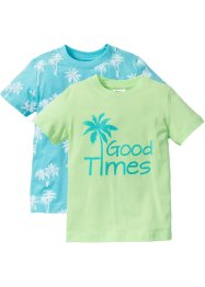 T-Shirt (2er-Pack), bpc bonprix collection, mint+aqua bedruckt