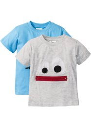 T-Shirt (2er-Pack), bpc bonprix collection, naturmeliert+alpenblau
