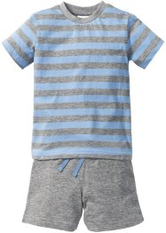 T-Shirt + Shorts (2-tlg.), bpc bonprix collection, grau meliert/hellblau getreift