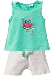 Baby Top + Shorts (2-tlg.) Bio-Baumwolle, bpc bonprix collection, mentholblau/naturmeliert