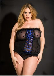 Top+String (2tlg. Set), Venus, schwarz/royalblau