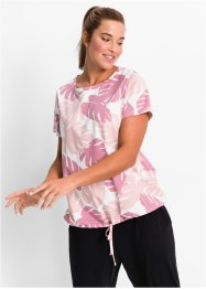 Wellness-Shirt mit Bindefunktion, kurzarm, bpc bonprix collection, rosa gemustert