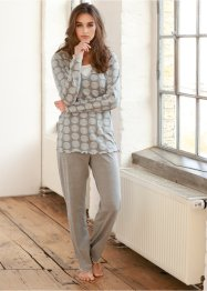 Pyjama, bpc bonprix collection, grau meliert bedruckt