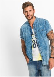 Jeans-Kurzarm-Hemd Slim Fit, RAINBOW
